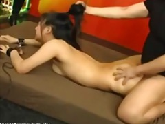 Japanese slave chihiro gets toyed and her hair pulled before fucking.