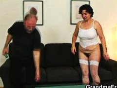 Her old hairy pussy is toyed and fucked.