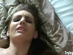 Anal virgin takes a huge piece of meat in her precious bunghole.