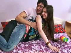 Incredible brunette teen fingers pussy and fucks.