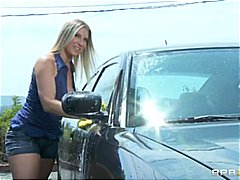 This blonde mom with huge tits will wash your car for sex .