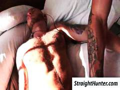 Tattooed gay gets woken up when his lover puts his cock in his mouth.