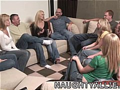 Party game leads to a huge orgy swinger wives.