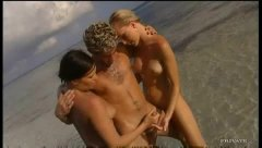 タグ: ハードコア, ビーチ, 3人プレイ, 褐色美人.