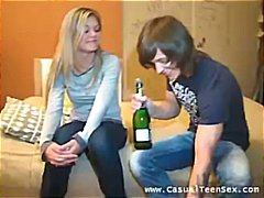 They meet and he gives her booze to get her juices flowing for sex.
