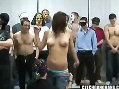 Busty girl at czech gang bang party.
