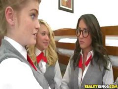 Fay reagan and three other schoolgirls do each other and a cock.