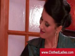Clothed vixen caughts her man cheating.