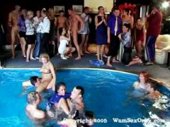 Group sex swinger's pool party.