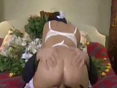 Gorgeous bride down to her lingerie and fucked hard.