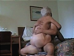 Horny white haired granny gets pounded in many positions   .