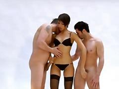 Теги: секс втроем, двойное проникновение, в чулочках.