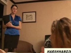 2 sexy babes give guy handjob on hotel room.