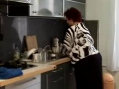 Fat bbw granny fucked in the kitchen.
