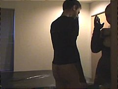 Amateur dude comes to the hotel to fuck and gets a strapon fuck instead .