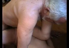Very old fat man abuse young maid very hard.