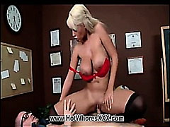 Hot blonde bridgette gets slammed .