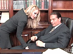 horny blonde seduces the principal.