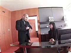Sexy secretary in stockings unexpectedly meets her boss at hotel.