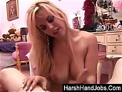 Laura hernandez gives a harsh handjob.