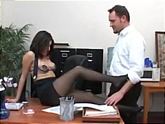 Secretary sativa rose in pantyhose fucking on her bosses desk.