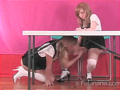 Schoolgirls play with massive-dildos.