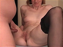 Skinny milf takes a small load.