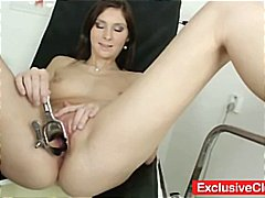 Cute brunette kattie gold goes in for a pussy exam and he takes pictures.