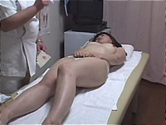 Asian chick comes in for an adjustment and gets her hairy snatch adjusted.