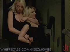 Two hot blondes kiss and one gets tied up for hot pussy play.
