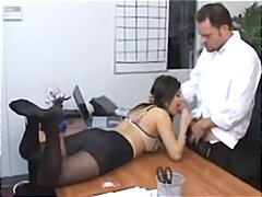 Hot secretary sativa rose likes stripping and banging the boss.