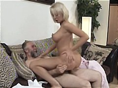 Mature blonde mandy dee bounces her big tits as she gets fucked by old dude.