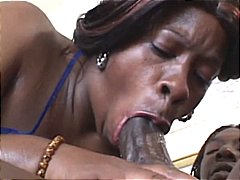 Bbbw sucks on his big cock before she gets hammered by it.
