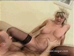 Old granny gets her pussy fucked in multiple positions.
