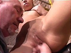 Blonde slut get fucked by an old man.