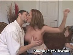 Pathetic hubby shares hot wife.