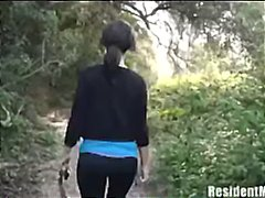 Brunette slut hikes deep into the woods to take his cock deep down her throat.