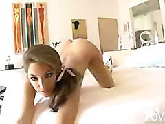 Jenna haze teasing, sucking and fucking pov .