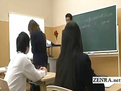 Nudist invisible japan schoolgirl class strip prank.