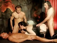 Bitch in latex gangbanged by three guys.
