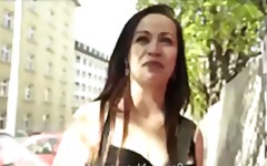 Sexy young czech redhead is paid to strip down and fuck in public.