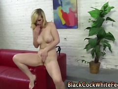 Tight white blonde gets feet jerking on black cock.