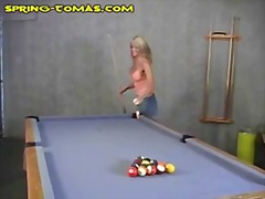 Blonde does pool table masturbation.