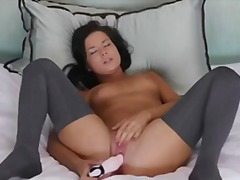 Latin beauty tanner masturbateing to climax.