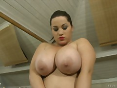 Chubby big tits play with herself then gets cream whipped.