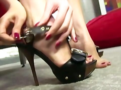 Brunette with a need for ebony cock between her toes .