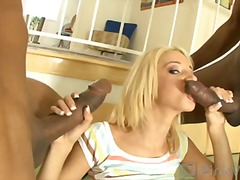 Jada drove all the way from vegas for a big surprise; so we gave her two! watch her sweet juicy peach take on two chocolate chubbies! these dicks are as big as her hea....