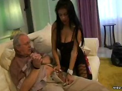 Hot brunette get wild and nasty over grandpa.