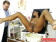 Weird gyno doctor checks hot latina pussy .