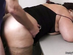 Chubby brunette fucks fat cock.